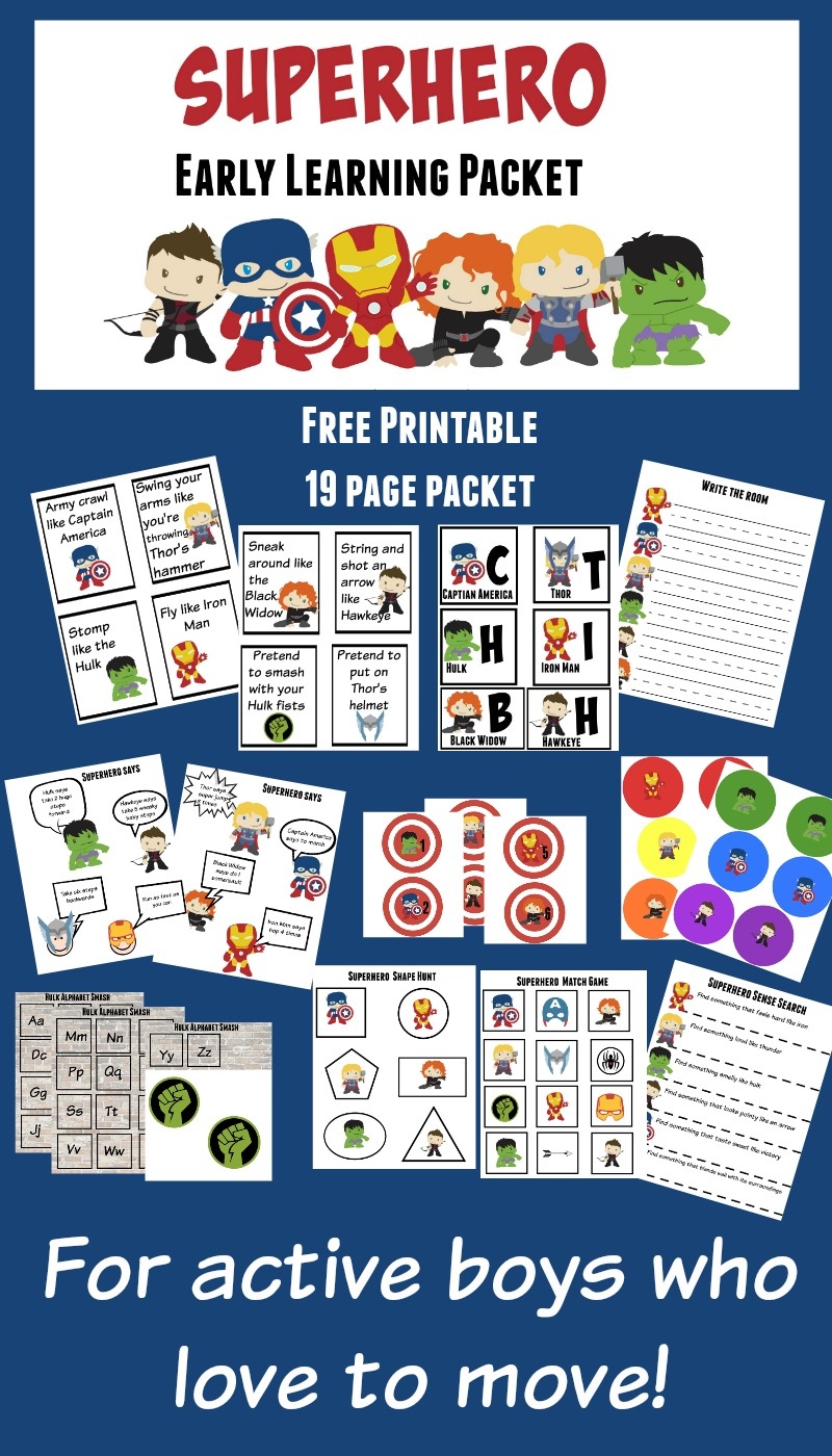 Superhero-19-page-active-preschool-packet